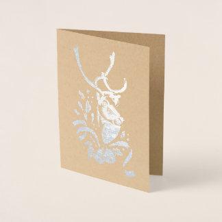 Cartão metálico do feriado da folha da rena do