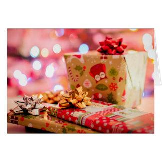 Cartão metálico dos presentes de Natal da coruja