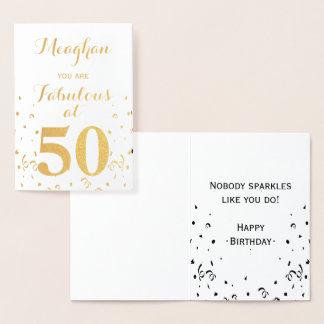 Cartão Metalizado 50th Folha de ouro do aniversário fabulosa em 50