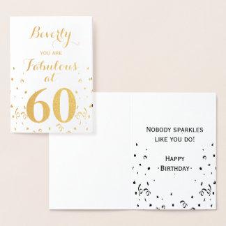Cartão Metalizado 60th Folha de ouro do aniversário fabulosa em 60