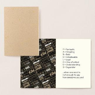 Cartão Metalizado 65th Monograma personalizado Special da festa de