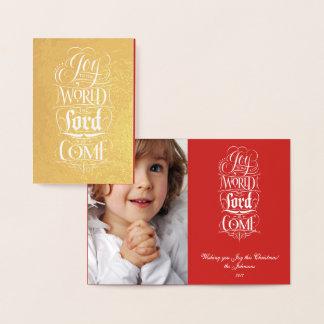 Cartão Metalizado A alegria ao mundo o senhor é vinda - ouro