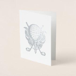 Cartão Metalizado A bola do curso do pro jogador de golfe do