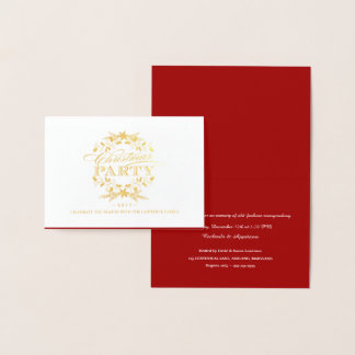 Cartão Metalizado A grinalda elegante do vintage da festa de Natal