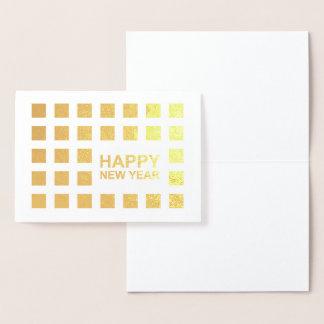 Cartão Metalizado a modificação do feliz ano novo esquadra a folha