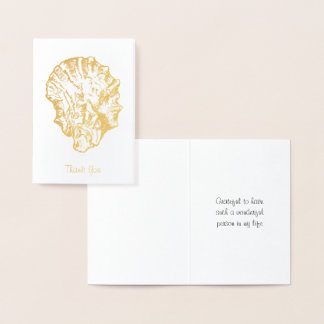 Cartão Metalizado A ostra Shell da folha de ouro carda
