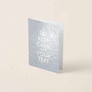 Cartão Metalizado A prata e o branco mantêm a calma e o seu texto