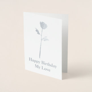 Cartão Metalizado A prata romântica aumentou com própria mensagem -