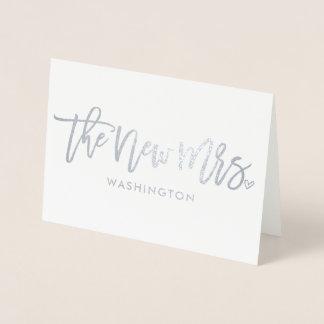 Cartão Metalizado A Sra. nova (sobrenome novo) roteiro da folha