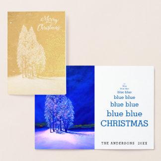 Cartão Metalizado Abeto original azul do pinho Spruce de árvores de