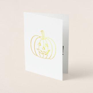 Cartão Metalizado Abóbora feliz do Dia das Bruxas