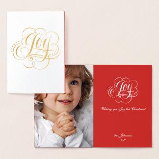 Cartão Metalizado Alegria à caligrafia do Natal da folha de ouro do