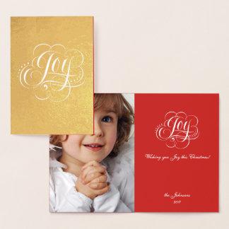 Cartão Metalizado Alegria à caligrafia real do Natal do ouro do
