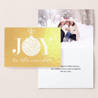 Cartão Metalizado Alegria à foto do feriado do mundo