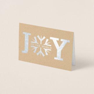 Cartão Metalizado Alegria à prata moderna do Natal do floco de neve