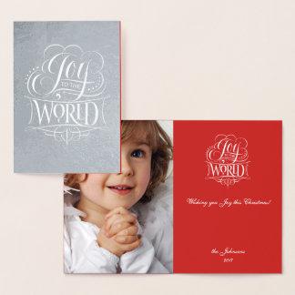 Cartão Metalizado Alegria à rotulação de prata real do Natal do