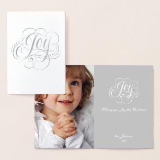 Cartão Metalizado Alegria à rotulação do Natal da folha de prata do