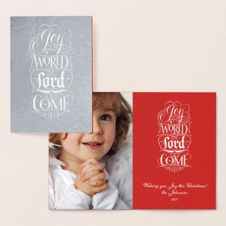 Cartão Metalizado Alegria ao Natal da prata do mundo religioso