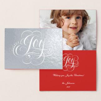 Cartão Metalizado Alegria ao Natal real do luxo da folha de prata do