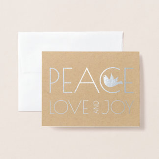 Cartão Metalizado Amor da paz e de pomba da alegria prata da foto do