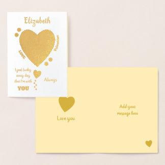 Cartão Metalizado Amor do feliz dia dos namorados sempre