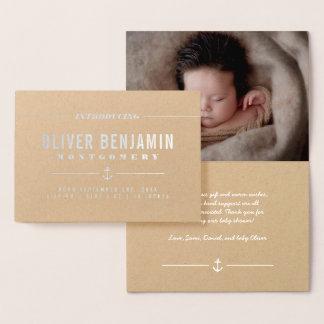 Cartão Metalizado Âncora da folha de prata - introduzindo o bebê -
