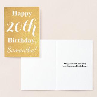 Cartão Metalizado Aniversário básico da folha de ouro 20o + Nome