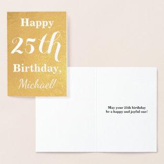 Cartão Metalizado Aniversário básico da folha de ouro 25o + Nome