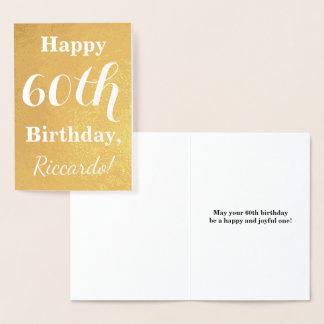 Cartão Metalizado Aniversário básico da folha de ouro 60th + Nome