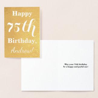 Cartão Metalizado Aniversário básico da folha de ouro 75th + Nome