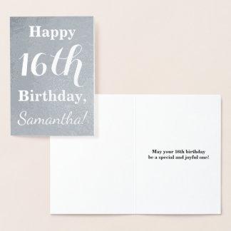 Cartão Metalizado Aniversário básico da folha de prata 16o + Nome