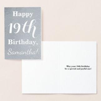 Cartão Metalizado Aniversário básico da folha de prata 19o + Nome