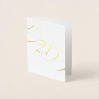 Cartão Metalizado Aniversário do marco miliário da caligrafia do