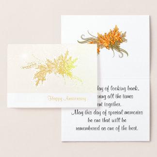 Cartão Metalizado Aniversário feliz com ganhos do outono