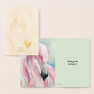 Cartão Metalizado Aniversário Pastel da arte do flamingo