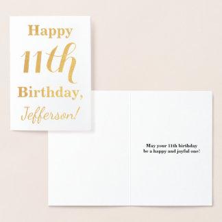 Cartão Metalizado Aniversário simples da folha de ouro 11o + Nome