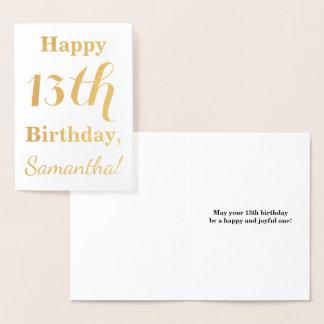 Cartão Metalizado Aniversário simples da folha de ouro 13o + Nome
