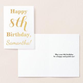 Cartão Metalizado Aniversário simples da folha de ouro 8o + Nome