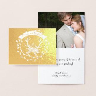 Cartão Metalizado Antlers da grinalda da folha de ouro da foto que