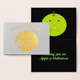 Cartão Metalizado Apple mau com cicatriz o Dia das Bruxas Foil o