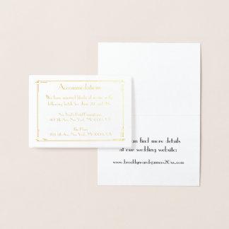 Cartão Metalizado Art deco real da folha de ouro que Wedding o