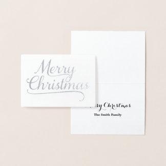 Cartão Metalizado Arte de prata da palavra do Feliz Natal