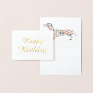 Cartão Metalizado Arte floral da aguarela do teste padrão do cão do