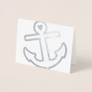 Cartão Metalizado Artigos de papelaria da âncora do coração