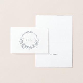 Cartão Metalizado Artigos de papelaria florais do nome da grinalda