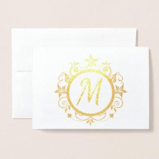 Cartão Metalizado Artigos de papelaria pessoais iniciais