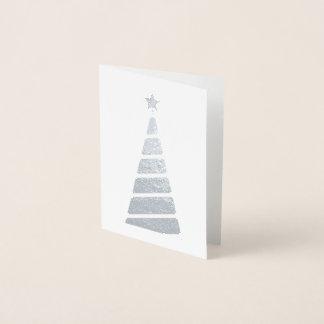 Cartão Metalizado Árvore de Natal de prata minimalista