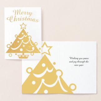 Cartão Metalizado Árvore dourada do Feliz Natal