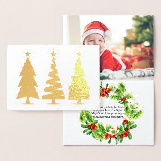 Cartão Metalizado Árvores de Natal bonitos e foto adorável do bebê
