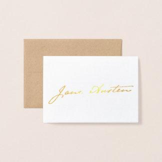 Cartão Metalizado Assinatura de Jane Austen - ouro